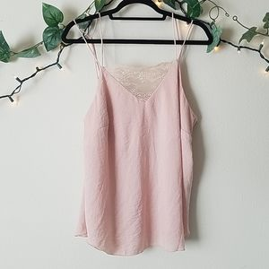 H&M Pink Lace Satin Tank Top
